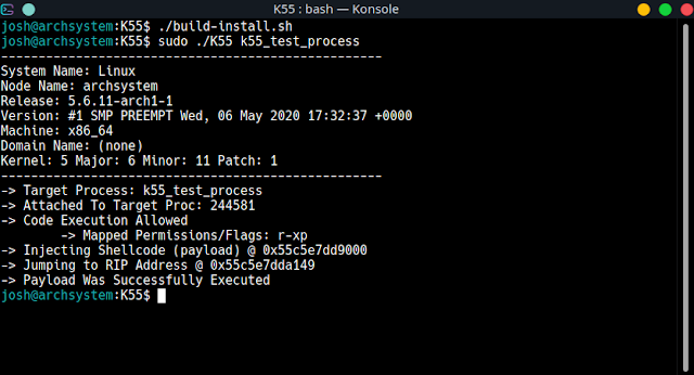 K55 - Linux X86_64 Process Injection Utility | Manipulate Processes With Customized Payloads