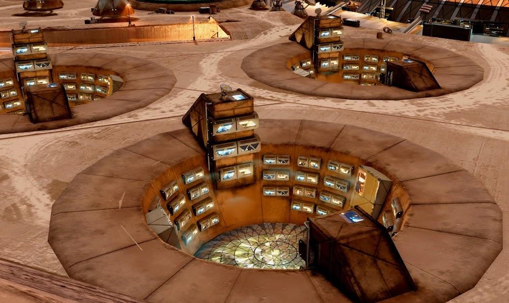 Brutalist Martian habitat architecture in 'Project Eagle' tech demo
