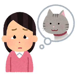 ペットロスのイラスト(猫・女性)