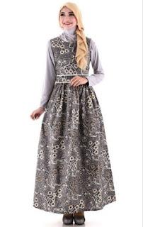 12 Model Baju Batik Terusan Muslim Yang Sedang Trend Saat Ini
