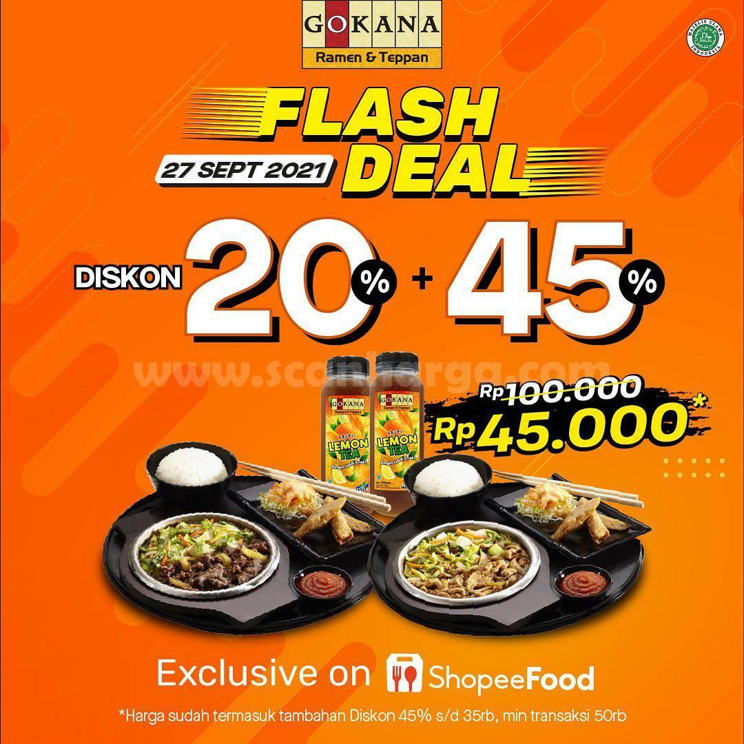 GOKANA Promo Flash Deal Diskon 20% + 45% Via SHOPEEFOOD