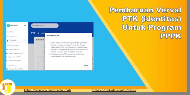 Pembaruan Verval PTK (identitas) Untuk Program PPPK 2021