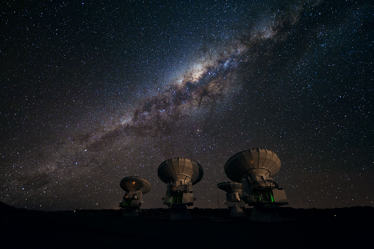 Milky Way Galaxy - ALMA Antennas - Chajnantor