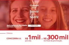 Cadastrar Promoção Colgate Sorrir Faz Sorrir 1 Mil Reais Dia e 300 Mil Final Promoção