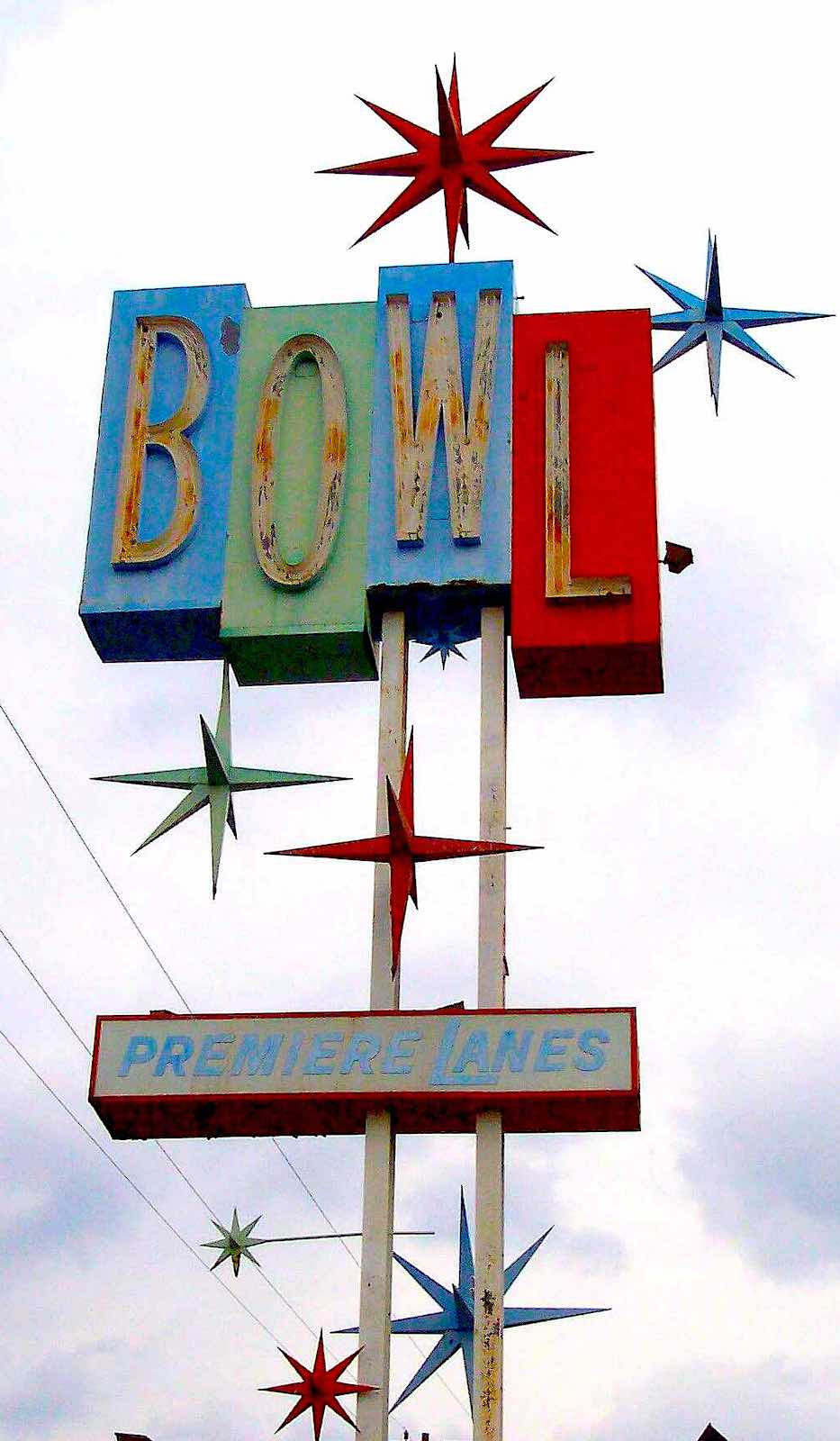 1950s bowling lanes sign