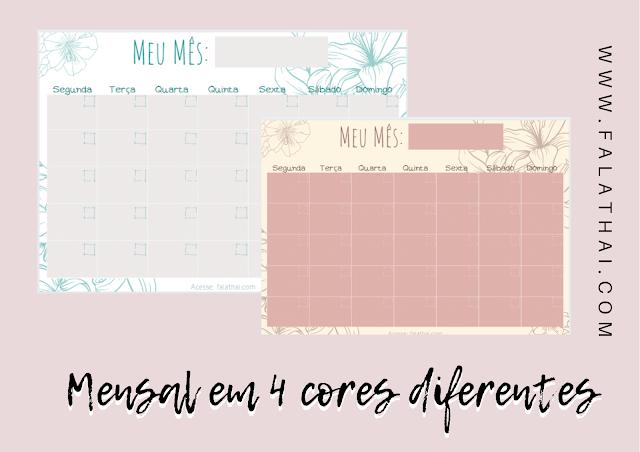 planner mensal para download grátis