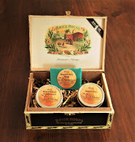 This amazing men's beard care gift set comes in a cigar box