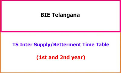 Telangana Inter Supplementary Exam Time Table