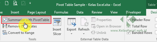 Summarize PiVot Table Excel