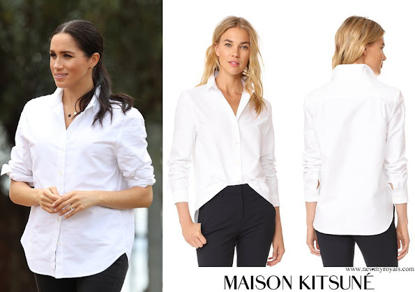 Meghan Markle wore Maison Kitsune Oxford Fox Embroidery Classic Shirt