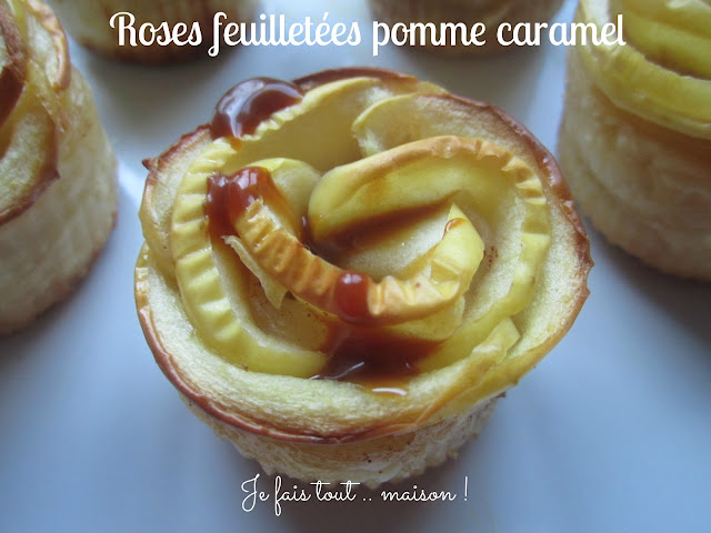 Roses feuilletées aux pommes et caramel
