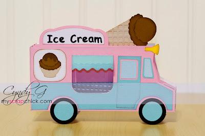 3d ice cream truck card with ice cream on top