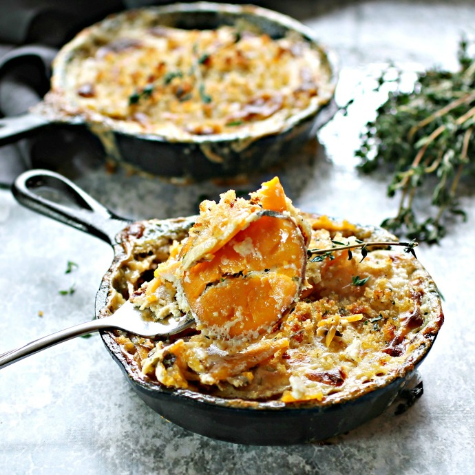 Recipe for low fat cheesy gratins with sweet potatoes.