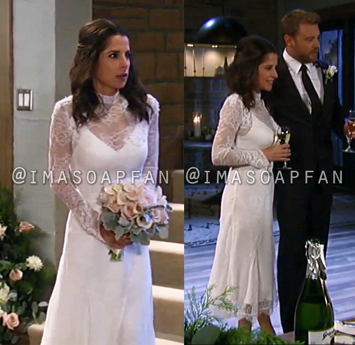 Sam Cain, Kelly Monaco, Chantilly Lace Wedding Dress, General Hospital, GH
