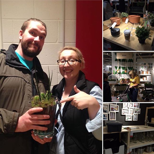 A group of four photos, including a couple holding a plant and three of the inside of an ikea store and an ikea assistant