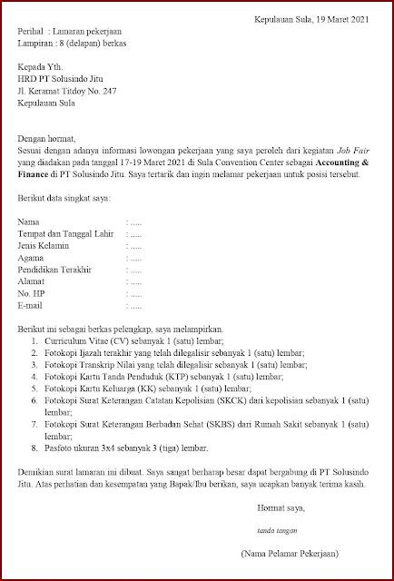 Contoh Application Letter Untuk Accounting & Finance (Fresh Graduate) Berdasarkan Informasi Dari Job Fair