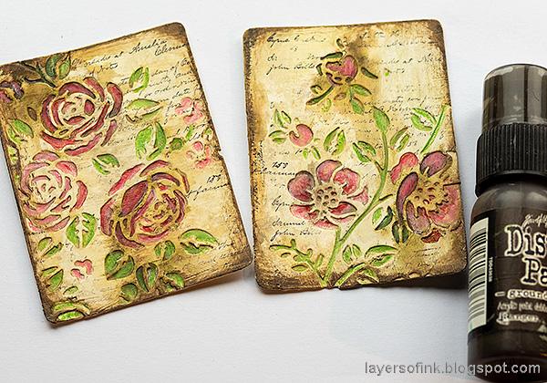 Layers of ink - Vintage Flower Artist Trading Cards Tutorial by Anna-Karin Evaldsson.