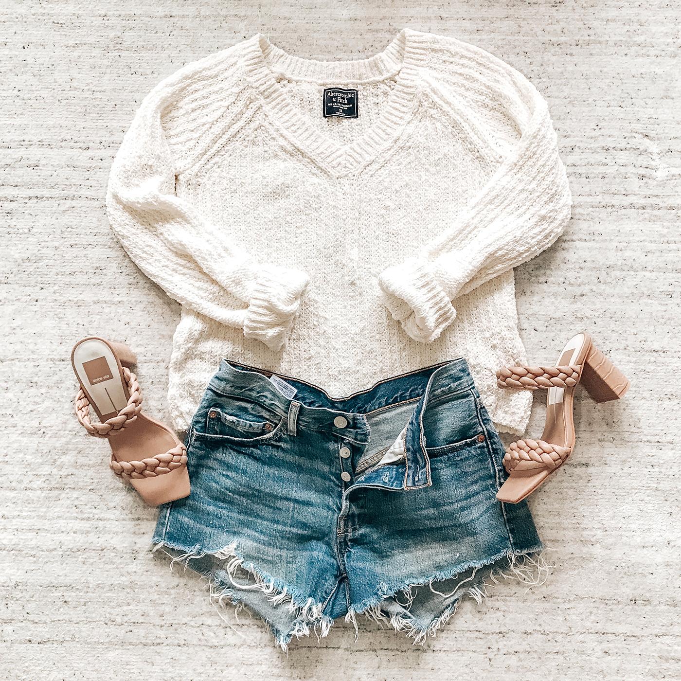 summer denim high rise cut off levi's shorts, abercrombie sweater, dolce vita braided sandals