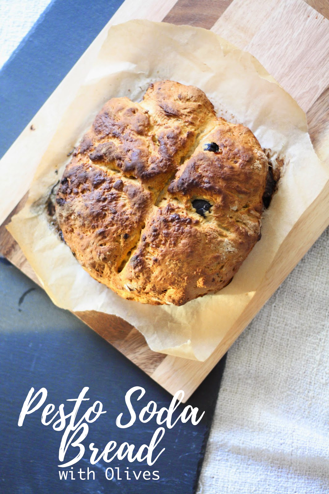 Soda bread with pesto & olives