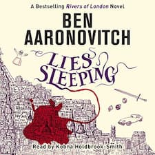 Lies Sleeping audiobook cover. A map of London on a cream background with blood spilling into the river and surrounding borough.