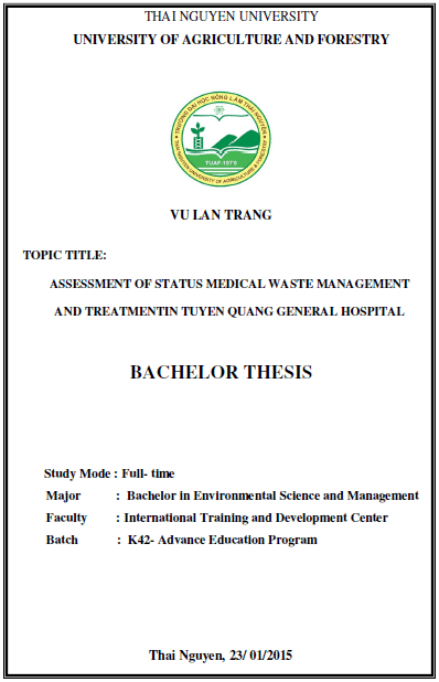 Assessment of status medical waste management and treatment in Tuyen Quang General Hospital
