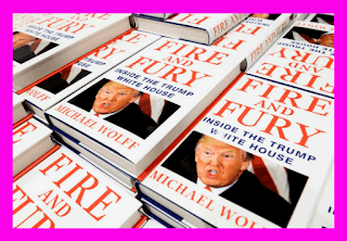"A large stack of Michael Wolff's book ""Fire and Fursy: Inside the Trump White House"""