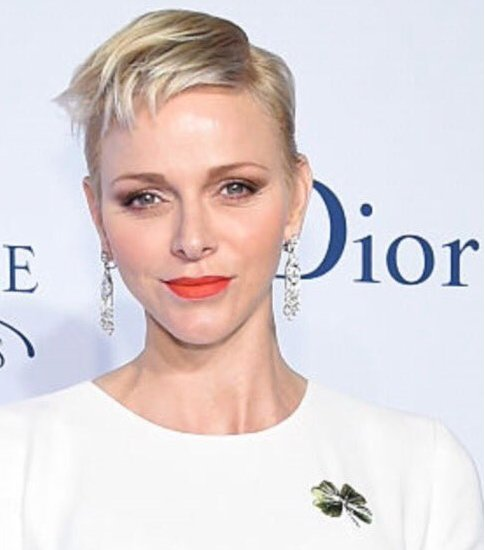 Princess Charlene wore Christian Dior silk gown