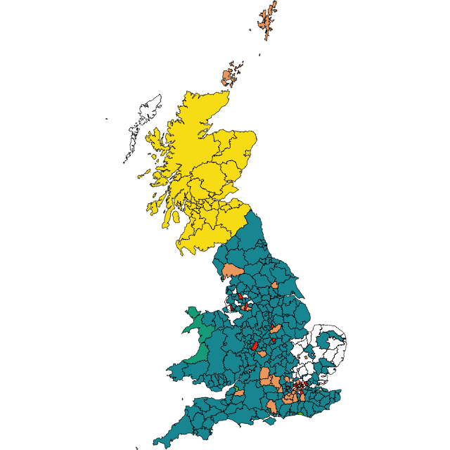 The results of the EU MEP Elections in the UK: Scotland is yellow for SNP.