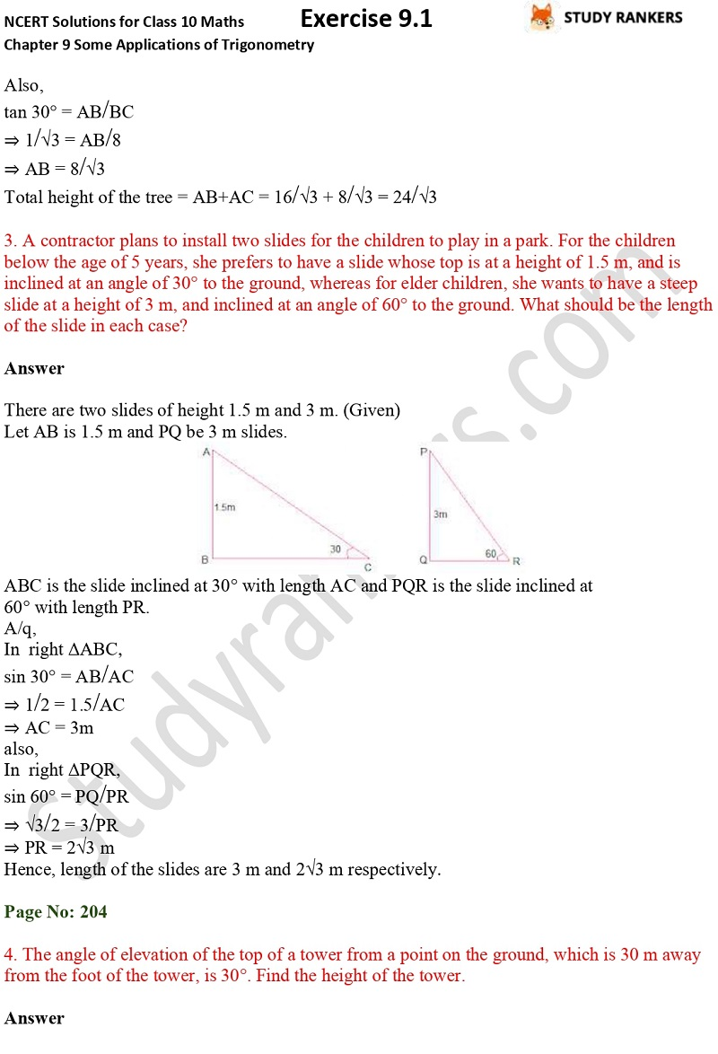 NCERT Solutions for Class 10 Maths Chapter 9 Some Applications of Trigonometry Exercise 9.1 Part 2