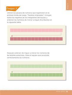 Apoyo Primaria Desafíos matemáticos 1er grado Bimestre 3 lección 29 Tarjetas ordenadas