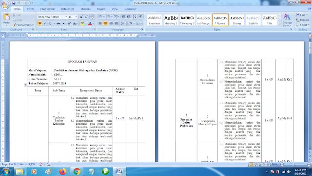 Program Tahunan PJOK SD Kelas 6 Semester 1 dan 2 Kurikulum 2013 Revisi Terbaru
