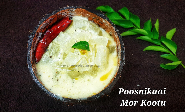 Mor Kootu is a traditional recipe from the South Indian Cuisine.it can be prepared with veg like White Pumpkin (pooshanikai) ,chayote & banana stem, pooshanikaai mor koot, pumpkin mor kootu, poosnikaai pachadi,pooshanikai pachadi , kumbalkaai pachadi, poosanikkai more kootu