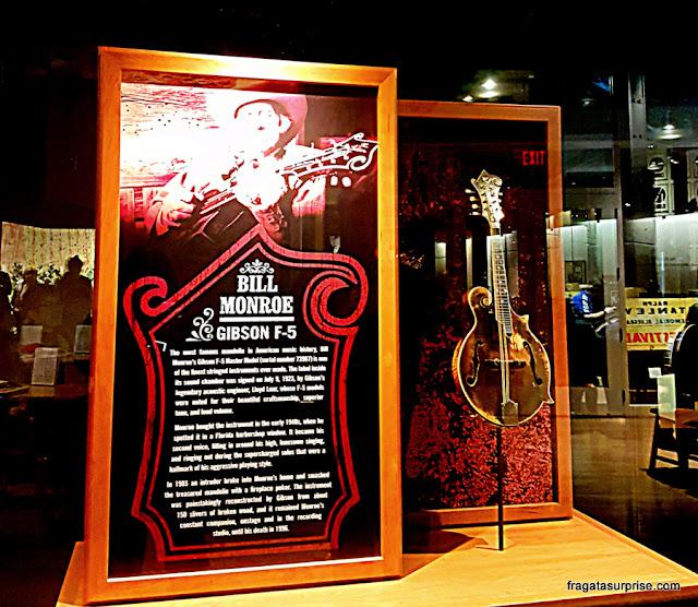 bandolim de Bill Monroe, pai do Bluegras, no Country Music Hall of Fame