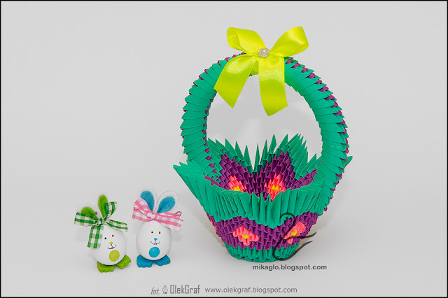 389. Koszyk zielono-fioletowy / 3d origami Easter basket