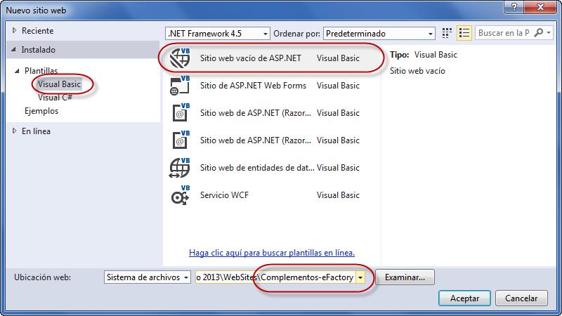 Nuevo Sitio Web ASP.NET - Programación de Complementos para eFactory ERP/CRM, Contabilidad y Nómina
