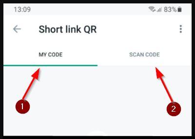 opsi scan dan share Barcode wa