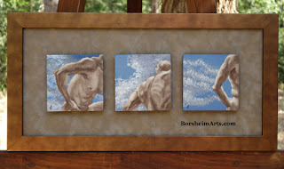 Sky Series Mini Paintings Dave in Michelangelo-inspired poses live model