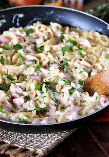 Pan of Creamy Ham & Cheese Spaghetti Image