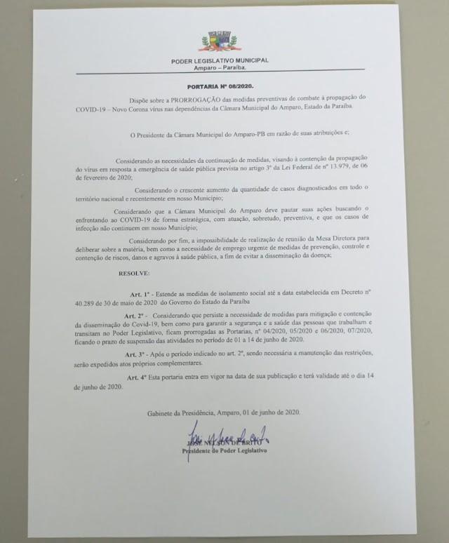 Câmara de Amparo prorroga portaria de medidas de combate à propagação do COVID-19 até 14 de Junho