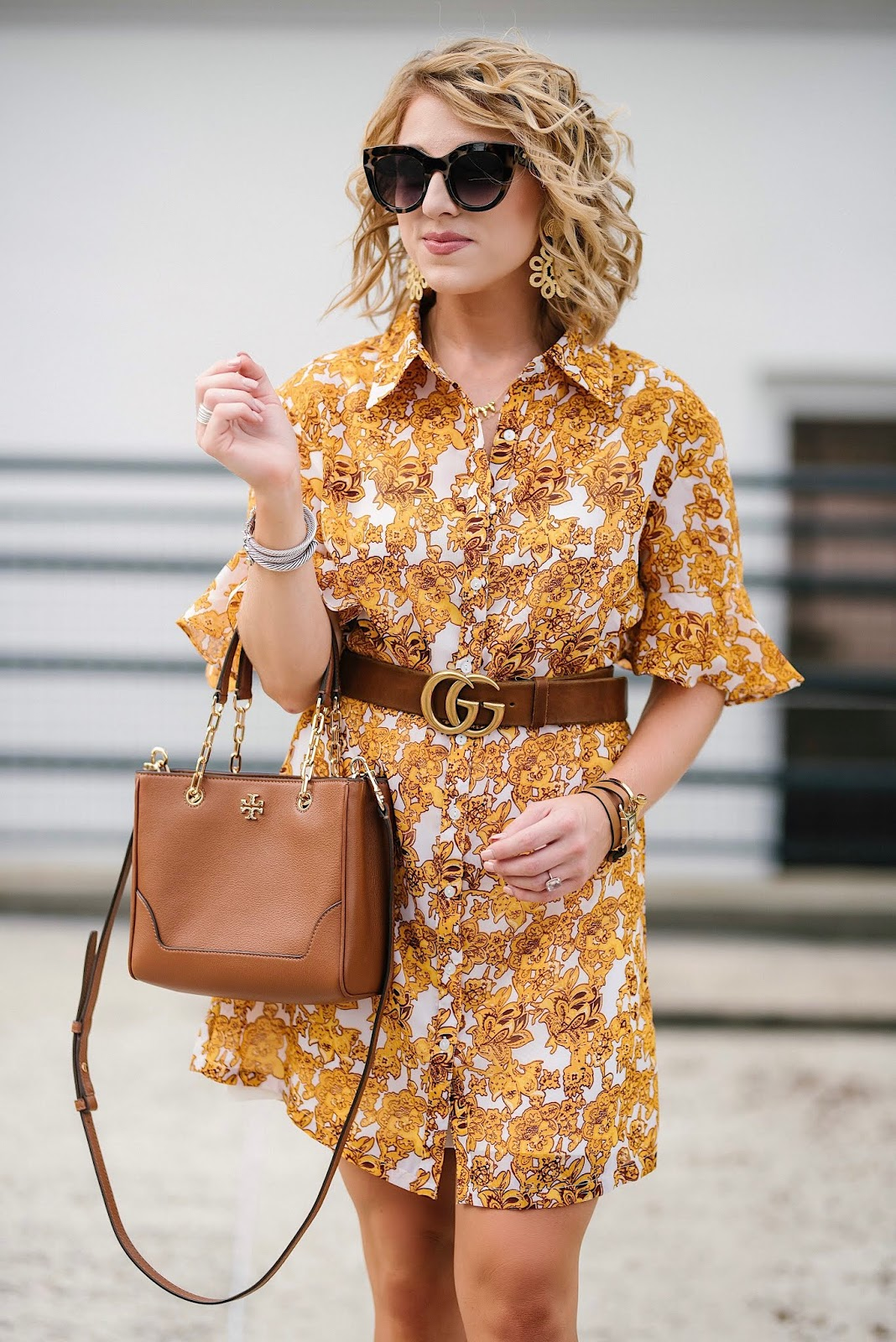The Perfect Dress To Transition Into Fall: $60 Ruffle Sleeve Shirt Dress - Something Delightful Blog