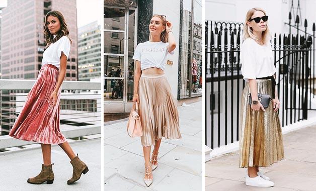 White T-shirt +  Pleated skirt