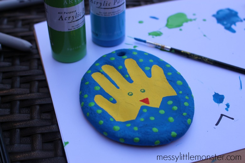 Salt dough Easter egg with handprint chick