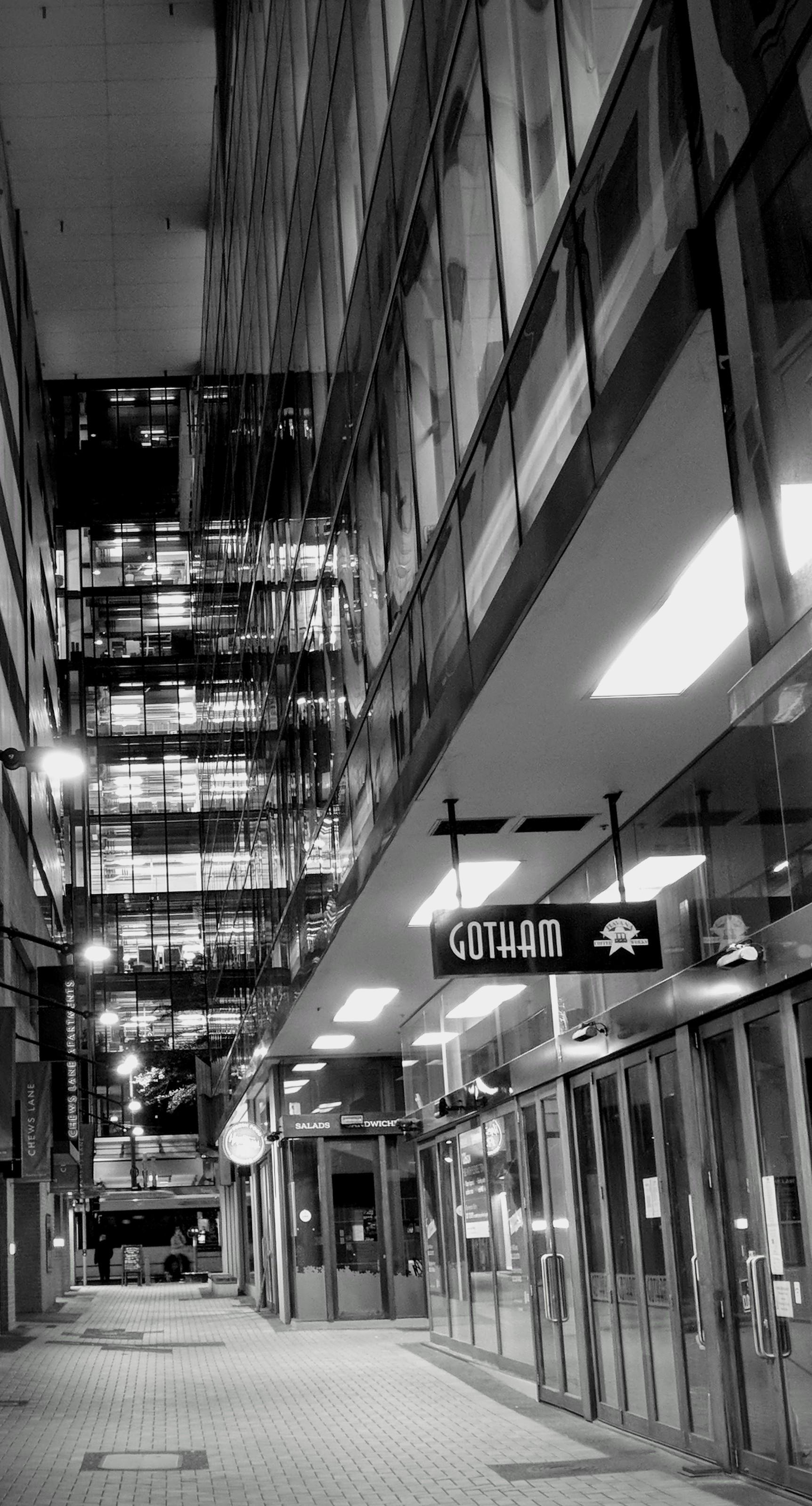 Chews Lane at night, Wellington (black and white)