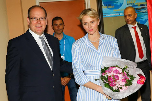 Prince Albert II and Princess Charlene attends the 34th International Swimming Meeting Mare Nostrum in Monte Carlo, Monaco. Princess Charlene of Style, Fashions