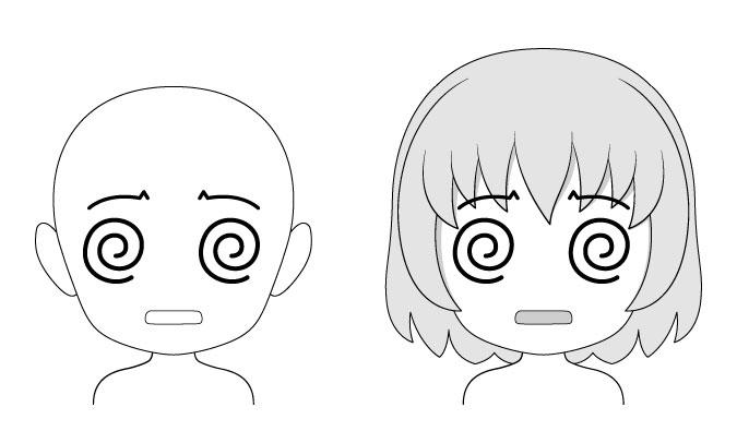 Ekspresi wajah anime chibi yang bingung / bingung