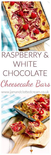 Raspberry & White Chocolate Cheesecake Bars
