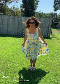 Sharon of Sharon Sews blog shows no gaping aspect of Butterick 6674 sundress