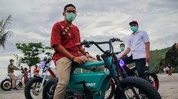 Ini Sepeda Listrik Keren Karya NTB yang Dijajal Menparekraf Sandiaga Uno di Kawasan The Mandalika