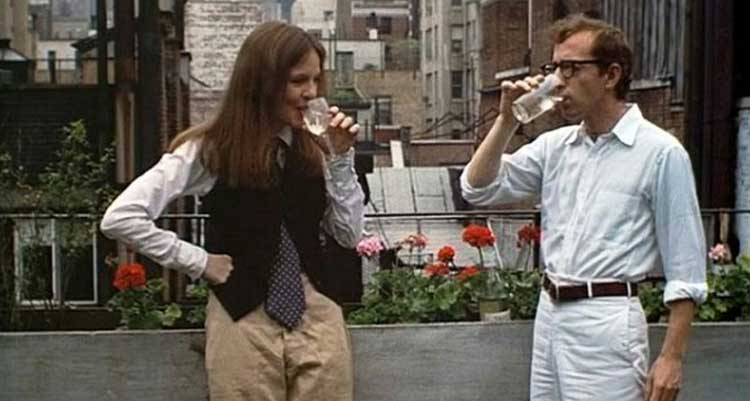 Diane Keaton and Woody Allen get acquainted in Annie Hall.