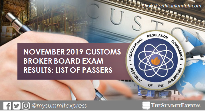 FULL RESULTS: November 2019 Customs Broker board exam list of passers, top 10